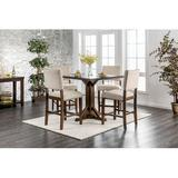 Gracie Oaks Hong 5 Piece Counter Height Breakfast Nook Dining Set Wood/Upholstered Chairs in Brown, Size 36.0 H x 40.25 W x 40.25 D in   Wayfair