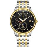 Men's Business Automatic Mechanical Watch Luminous Moon Phase Gold Silver Stainless Steel Two-Tone Watch (Two-Tone Black Dial)