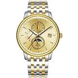 Men's Business Automatic Mechanical Watch Luminous Moon Phase Gold Silver Stainless Steel Two-Tone Watch (Two-Tone Gold Dial)