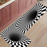 2 Piece Non-Slip Kitchen Mat Rubber Backing Doormat Runner Rug Set, Kids Area Rug Bedroom Rug Geometric Black and White Vortex Swirl 19.7'' x 31.5'' + 19.7'' x 63''