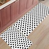 Shine-Home 2 Piece Non-Slip Kitchen Mat Rubber Backing Doormat Runner Rug Set, Kids Area Rug Bedroom Rug Monochrome Polka Dot 15.7'' x 23.6'' +15.7'' x47.2''