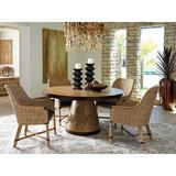 Dining Set - Tommy Bahama Home Los Atlos 5 Piece Dining Set, Wood/Upholstered Chairs/Metal in Brown/Blue, Size Small (Seats up to 4)