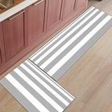 Shine-Home 2 Piece Non-Slip Kitchen Mat Rubber Backing Doormat Runner Rug Set, Kids Area Rug Bedroom Rug Nautical Stripe Design 15.7'' x 23.6'' +15.7'' x47.2''