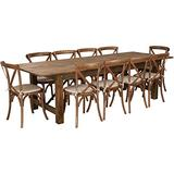 Flash Furniture HERCULES Series 9' x 40'' Antique Rustic Folding Farm Table Set with 10 Cross Back Chairs and Cushions