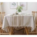 Famibay Ins Style Square Tablecloth 55x55 Cotton Linen Elegant Table Cloth with Tassel Edge Dust-Proof Washable Kitchen Table Cover for Dining Table (Linen)