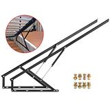 Happybuy Pair of 5FT Pneumatic Storage Bed Lift Mechanism Heavy Duty Gas Spring Bed Storage Lift Kit for Box Bed Sofa Storage Space Saving DIY Project Lifter Lift Up Hardware Black