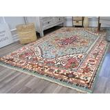 World Menagerie Clarendale Oriental Hand-Knotted Wool Light Blue/Beige Area Rug Wool in White, Size 120.0 H x 96.0 W x 1.0 D in | Wayfair