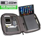 """Artistic Zippered Power Padfolio Portfolio Organizer w/Integrated 5000mAh USB Battery Bank & 10"""" Tablet/iPad Sleeve - Includes A5 Notebook, Gray"""
