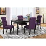 Charlton Home® Evelin 6 - Person Solid Wood Dining Set Wood/Upholstered Chairs in Black/Brown, Size 30.0 H in   Wayfair
