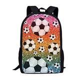 UNICEU Rainbow Glitter Soccer Backpack Kids School Book Bag