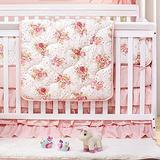Brandream Crib Bedding Set for Girls | 3 Piece Luxury Aflutter Rose Floral Nursery Set | Baby Comforter, Crib Sheet, Crib Bed Skirt Included, 800TC Egyptian Cotton