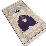 Camel Carpet Hand Knotted Handmade Red Persian Silk Prayer Rug 2.5'x4' (Black)