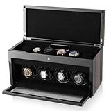 Watch Winder Box for Self-Winding 4 Automatic Watches with LED Case Backlight, LCD Display and 6 Watches Storage Compartment for All Watch Brands and All Watch Sizes (Macassar)