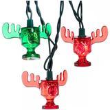 Kurt S. Adler 31449 - 10 Light 12' National Lampoon's Christmas Vacation? Wally World Red and Green Moose Mug Christmas Light String Set Set