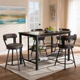 17 Stories Tullahassee 5 Piece Dining SetWood/Metal/Upholstered Chairs in Black/Brown/Gray, Size 36.02 H x 53.94 W x 31.97 D in | Wayfair