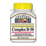 """Vitamin B-50 Balanced Complex 60 Tablets, 21st Century Health Care"""