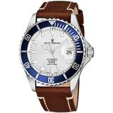 Revue Thommen Mens Automatic Diver Watch - 42mm Analog Silver Face Diving Watch with Luminous Hands, Date and Sapphire Crystal - Brown Leather Band Swiss Made Waterproof Dive Watch 17571.2525