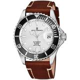 Revue Thommen Mens Automatic Diver Watch - 42mm Analog Silver Face Diving Watch with Luminous Hands, Date and Sapphire Crystal - Brown Leather Band Swiss Made Waterproof Dive Watch 17571.2527