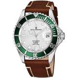 Revue Thommen Mens Automatic Diver Watch - 42mm Analog Silver Face Diving Watch with Luminous Hands, Date and Sapphire Crystal - Brown Leather Band Swiss Made Waterproof Dive Watch 17571.2524