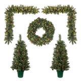 Vickerman 573709 - Lit Potted Christmas Tree, Lit Wreath, Lit Garland Front Door Set (Set of 5) Christmas Tree Set (D188433)