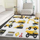 Boys Rugs for Bedroom Yellow Colored Construction Site Machinery and Signs Lined up for Display Circle Rugs for Living Room 4'x6' Earth Yellow Black Red