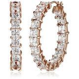 "Rose Gold Plated Sterling Silver Hoop Earrings set with Princess Cut Swarovski Zirconia (10 cttw), 1"""