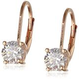 Amazon Collection Rose Gold Plated Sterling Silver Lever back Earrings set with Round Swarovski Zirconia (1 cttw)