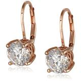 Rose Gold Plated Sterling Silver Lever back Earrings set with Round Swarovski Zirconia (3 cttw)