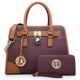Multi Pockets Satchel for Women, Large Designer Lady Purses Laptop Tablet Tote Work Briefcase (1-Purple)