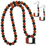 NCAA Siskiyou Sports Womens Miami Hurricanes Fan Bead Earrings and Necklace Set One Size Team Color