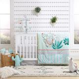 Baby The Peanut Shell Llama & Cactus Reversible Quilt, Fitted Crib Sheet & Dust Ruffle Bedding Set, Multicolor