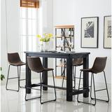 Union Rustic Shoemaker 5 - Piece Bar Height Dining SetWood/Metal/Upholstered Chairs in Black/Brown, Size 42.0 H x 30.0 W x 60.0 D in   Wayfair