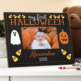 The Holiday Aisle® Almaraz My First Halloween Personalized Picture Frame Wood in Black/Brown, Size 8.0 H x 10.0 W x 0.5 D in | Wayfair