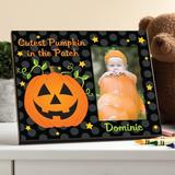 The Holiday Aisle® Alberty Cutest Pumpkin in the Patch Personalized Picture Frame Wood in Black/Brown, Size 8.0 H x 10.0 W x 0.5 D in | Wayfair