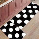 2 Piece Non-Slip Kitchen Mat Rubber Backing Doormat Runner Rug Set, Kids Area Rug Bedroom Rug Black and White Polka Dot 23.6'' x 35.4'' + 23.6'' x 70.9''