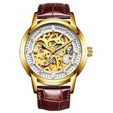Hollow Skeleton Automatic Mens Watch Man Classic Leather Business Men WristWatches Male Sport Watches (Brown White)