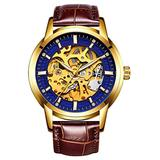 Hollow Skeleton Automatic Mens Watch Man Classic Leather Business Men WristWatches Male Sport Watches (Brown Blue)