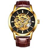 Hollow Skeleton Automatic Mens Watch Man Classic Leather Business Men WristWatches Male Sport Watches (Brown Black)