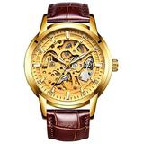 Hollow Skeleton Automatic Mens Watch Man Classic Leather Business Men WristWatches Male Sport Watches (Brown Gold)