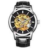 Hollow Skeleton Automatic Mens Watch Man Classic Leather Business Men WristWatches Male Sport Watches (Black Silver Black)