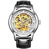 Hollow Skeleton Automatic Mens Watch Man Classic Leather Business Men WristWatches Male Sport Watches (Black Silver White)