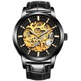 Hollow Skeleton Automatic Mens Watch Man Classic Leather Business Men WristWatches Male Sport Watches (Full Black)