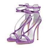 FSJ Women Sexy Strappy Sandals for Wedding Open Toe Metallic High Heels Pumps Shoes Size 11 Purple