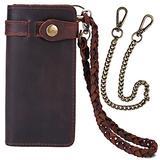 CPJ Mens Wallet with Chain Leather Long Bifold Trucker Wallet Vintage Biker Money Clip with Zipper
