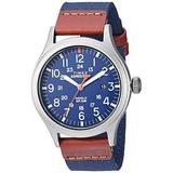 Timex Men's TW4B14100 Expedition Scout 40mm Blue/Brown/Gray Leather/Nylon Strap Watch