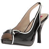 Pleaser Pink Label Women's Pinup10/b-w Platform Dress Sandal, Blk-Wht Patent, 15 M US