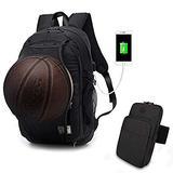 Basketball Laptop Backpack for Boy Travel Business College School Computer Bag with USB Charging Port,Water Resistant for Women & Men Fits 15.6 inch (k Black Backpack+Arm Bag)