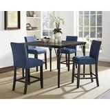 Greyleigh™ Haysi Counter Height Dining SetWood/Metal/Upholstered Chairs in Blue, Size 36.0 H x 48.0 W x 48.0 D in | Wayfair