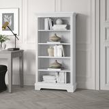 "Greyleigh™ Alicea 60"" H x 32"" W Standard Bookcase Wood in White/Brown, Size 60.0 H x 32.0 W x 14.5 D in   Wayfair 5F2FEF61B3084DEEA316A2160780DE82"