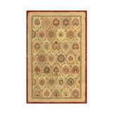 Charlton Home® Mirfield Floral Hand Knotted Wool Tan/Area Rug Wool in Red, Size 18.0 H x 18.0 W x 0.38 D in   Wayfair